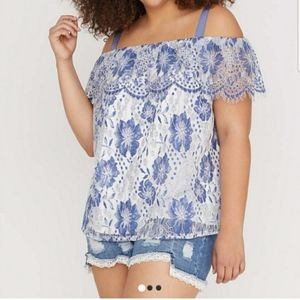 Lane Bryant | Blue & White Lace Off Shoulder 18/20